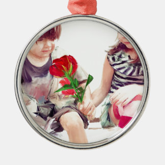 a rose a puppy and a kiss Silver-Colored round ornament