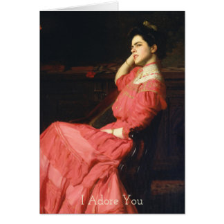 A Rose Seated Woman In Dress I Adore You Card