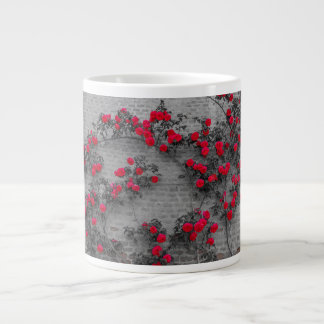 a roses climb on a brick wall on Jumbo Mug