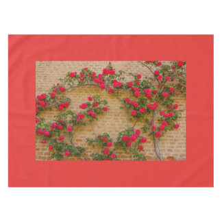 a roses climb on a brick wall on tablecloth