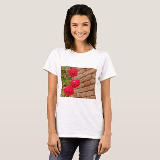 a roses climb on a brick wall t-shirt