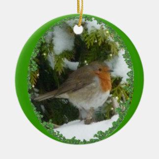 A Round Robin Christmas Decoration Round Ceramic Ornament