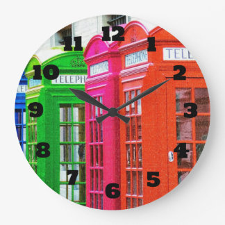 A Row of Brightly Colored Telephone Boxes Large Clock
