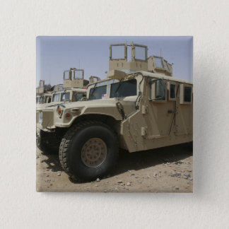 A row of humvees from Task Force Military Polic 2 Inch Square Button