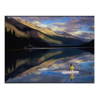 A rower on Banff Lake in the Canada MR) Poster