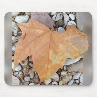 a rusty leaf on pebbles mouse pad