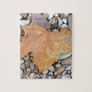 a rusty leaf on pebbles puzzles