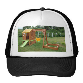 A s playing equipment in a green location trucker hat