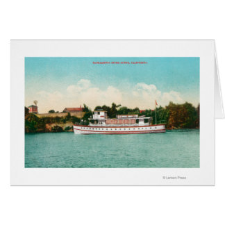 A Sacramento River Scene with a Riverboat Card