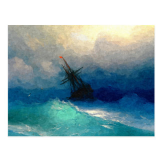 A sailing ship in a storm postcard