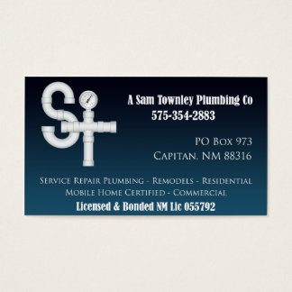 A Sam Townley Plumbing Company Business Card