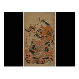 A Samurai's Wife Prepares Him for Battle c. 1713 Postcard
