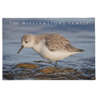 A Sanderling Strolls Winter Shores Doormat