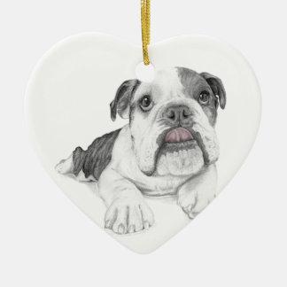 A Sassy Bulldog Puppy Ceramic Heart Ornament