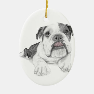 A Sassy Bulldog Puppy Ceramic Oval Ornament