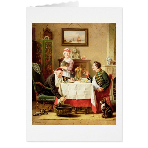 A Satisfying Meal, 1883 (oil on  canvas) Greeting Cards