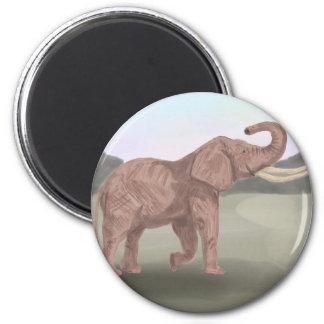 A savannah elephant 2 inch round magnet