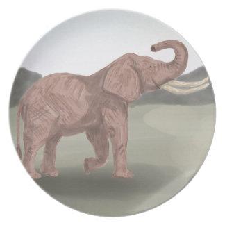 A savannah elephant plates
