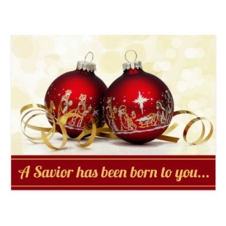 A Savior Has Been Born Nativity Christmas Ornament Postcard
