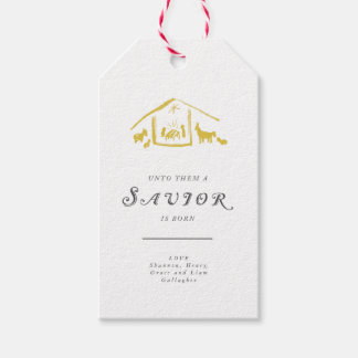 A Savior Is Born Holiday Gift Tags - Golden Pack Of Gift Tags