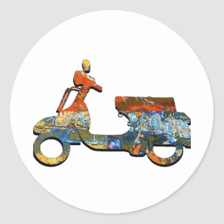 A SCOOTING ALONG CLASSIC ROUND STICKER