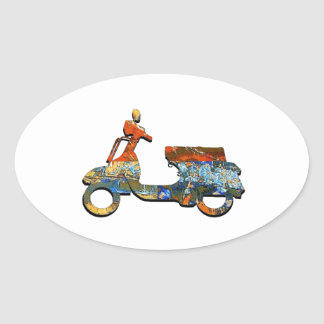 A SCOOTING ALONG OVAL STICKER