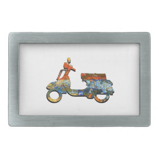 A SCOOTING ALONG RECTANGULAR BELT BUCKLE