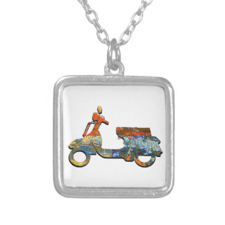 A SCOOTING ALONG SILVER PLATED NECKLACE