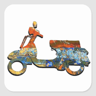 A SCOOTING ALONG SQUARE STICKER