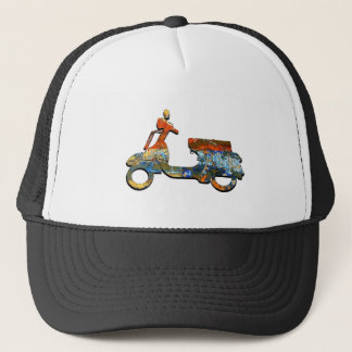 A SCOOTING ALONG TRUCKER HAT