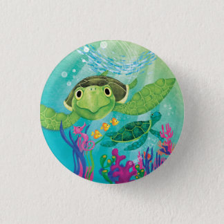 A Sea Turtle Rescue 1 Inch Round Button