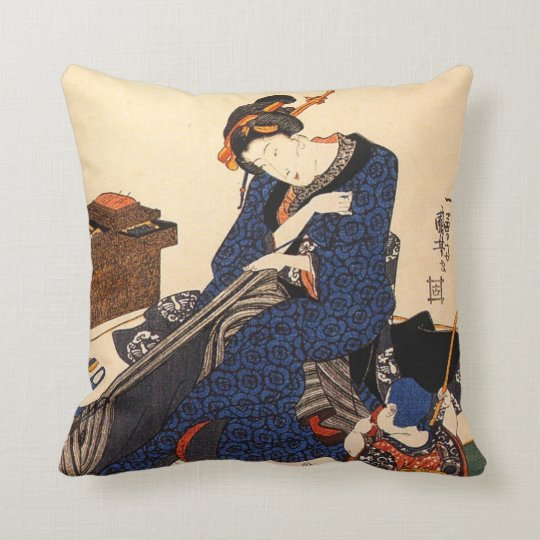 A Seated Woman Sewing a Kimono Throw Pillow