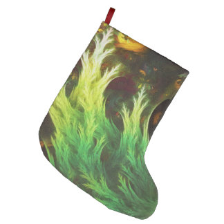 A Seaweed's DeepDream of Faded Fractal Fall Colors Large Christmas Stocking