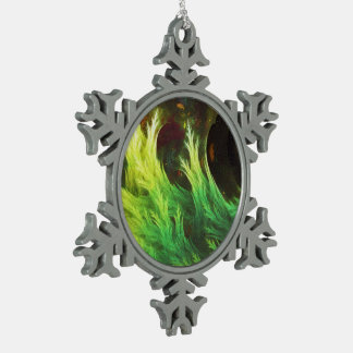 A Seaweed's DeepDream of Faded Fractal Fall Colors Snowflake Pewter Christmas Ornament