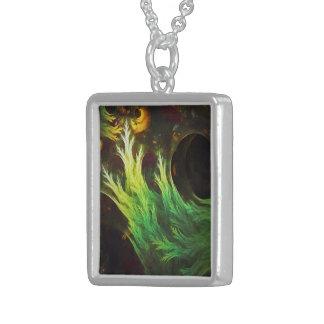 A Seaweed's DeepDream of Faded Fractal Fall Colors Sterling Silver Necklace