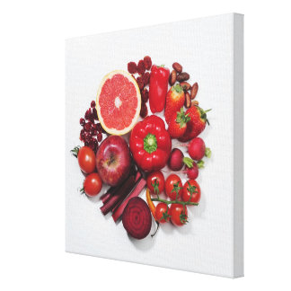 A selection of red fruits & vegetables. canvas print