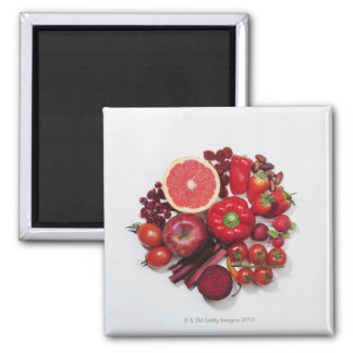 A selection of red fruits & vegetables. magnet