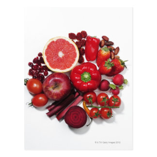 A selection of red fruits & vegetables. postcard