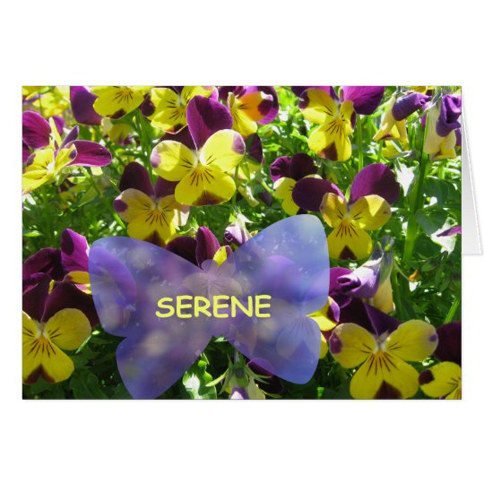 A Serene Pansy Garden card