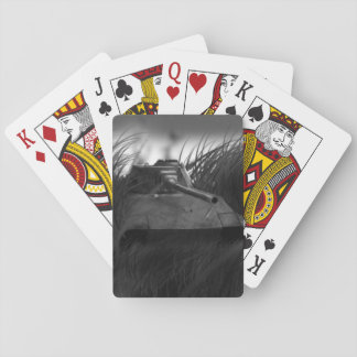 A set of playing card with a Tank painting design.