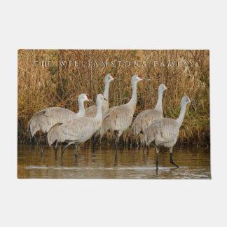 A Sextet of Wading Greater Sandhill Cranes Doormat