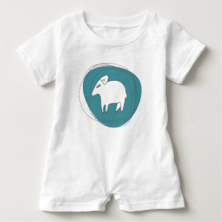 A sheep in ovals baby romper