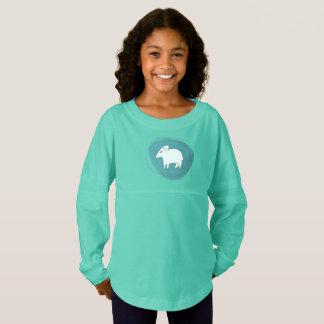 A sheep in ovals jersey shirt