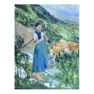 A shepherdess in front of her sheep postcard
