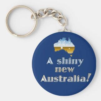 A Shiny New Australia Basic Round Button Keychain