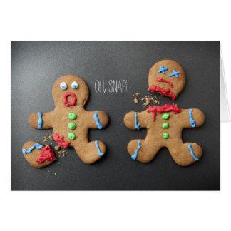 A shocked gingerbread man with broken leg card