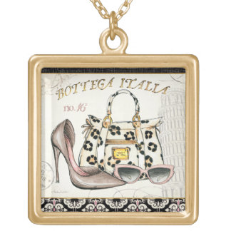 A Shoe, A Bag, and A Pair of Glasses Square Pendant Necklace