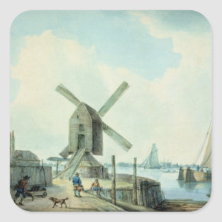 A Shore Scene with Windmills and Shipping Square Sticker