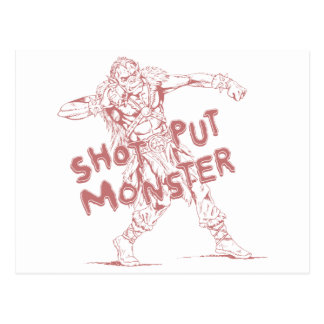 a shot put monster postcard