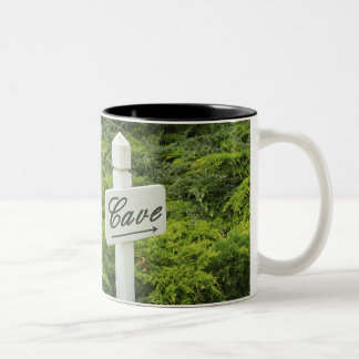 A sign pointing tho the wine cellar (Cave) in Two-Tone Coffee Mug